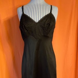 1960s Vanity Fair Black Nylon Slip